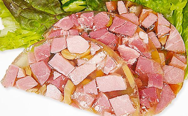 <span>ゼリー寄せ一覧</span>プルンとしたゼリーとモモ肉の食感が味わえるハム。